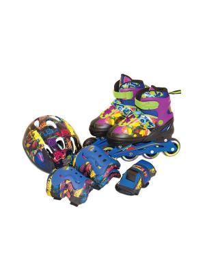 Набор роликовые коньки + защита TMNT, р. 34-37 Gulliver. Цвет: зеленый, фиолетовый, синий