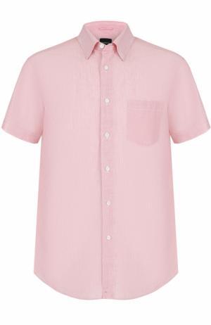Рубашка с короткими рукавами из смеси хлопка и льна Ermenegildo Zegna. Цвет: красный