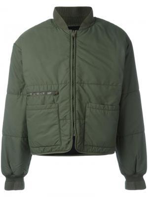 Дутая куртка бомбер Yeezy. Цвет: зелёный