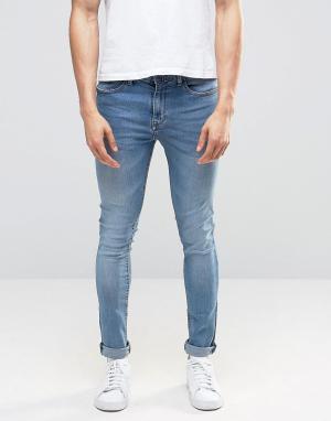 Pull&Bear Светло-голубые супероблегающие джинсы скинни. Цвет: синий