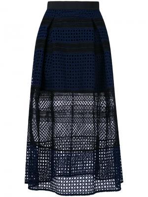 Сетчатая юбка миди Self-Portrait. Цвет: синий