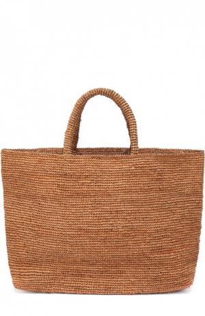 Плетеная сумка Walata из рафии Sans-Arcidet. Цвет: коричневый