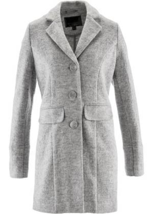 Пальто с большой долей шерсти (светло-серый меланж) bonprix. Цвет: светло-серый меланж