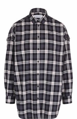 Удлиненная хлопковая блуза в клетку Iro. Цвет: черно-белый