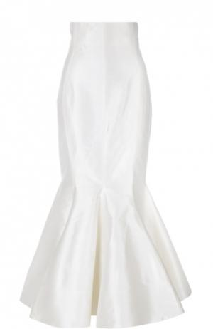 Шелковая юбка-годе Alessandra Rich. Цвет: белый