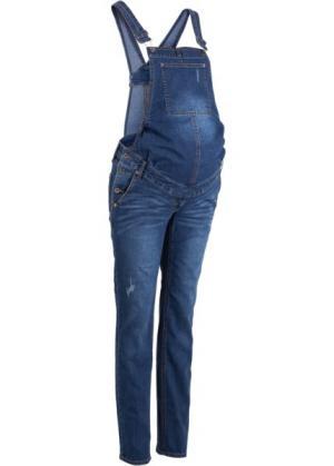 Узкий джинсовый комбинезон для беременных (синий «потертый») bonprix. Цвет: синий «потертый»