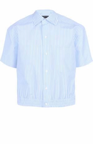 Хлопковая рубашка с короткими рукавами и поясом на резинке Balenciaga. Цвет: голубой