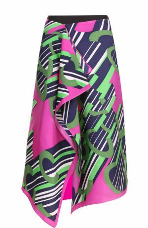 Шелковая юбка асимметричного кроя с принтом Carven. Цвет: фуксия