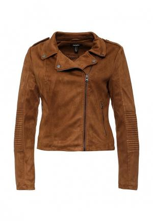 Куртка кожаная Jennyfer. Цвет: коричневый