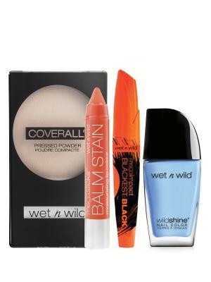 Wet n Wild набор № 13 Тушь +Лак Shine + Пудра Cover All Помада блеск Balm Stain. Цвет: черный, бежевый, голубой, оранжевый