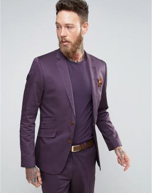 Devils Advocate Фиолетовый приталенный пиджак из хлопкового сатина. Цвет: фиолетовый