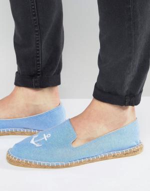 ASOS Синие эспадрильи с вышивкой якорей. Цвет: синий