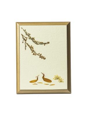 Картина - сувенир Гербарий Японские журавли DEEPOT. Цвет: светло-бежевый