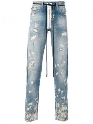 Узкие джинсы с протертостями Off-White. Цвет: синий