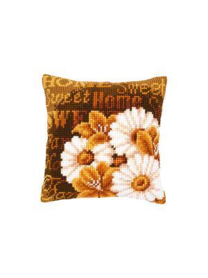 Набор для вышивания лицевой стороны наволочки Маргаритки в орнаменте 40*40см Vervaco. Цвет: коричневый, белый, горчичный, оранжевый