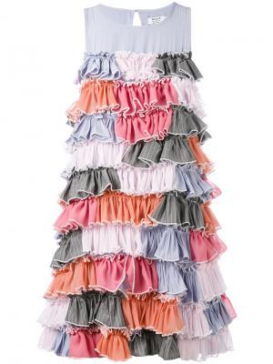 Многоярусное платье с отделкой рюшами Anna K. Цвет: розовый и фиолетовый