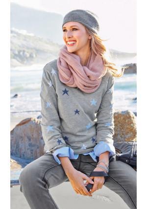 Пуловер CHEER. Цвет: серый/голубой/темно-синий/бежевый