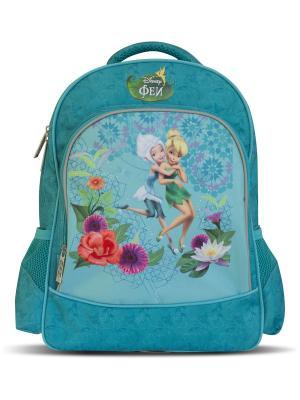 Рюкзак ортопедический двухсекционный мягкий Феи Disney. Цвет: бирюзовый