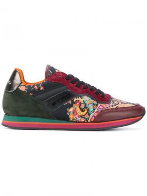 Paisley panel lace-up sneakers Etro. Цвет: красный
