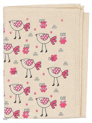 Полотенце льняное Птички в сапожках GrandStyle. Цвет: голубой, розовый, серый
