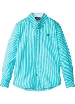 Рубашка с длинным рукавом в полоску (бирюзовый/белый полоску) bonprix. Цвет: бирюзовый/белый в полоску