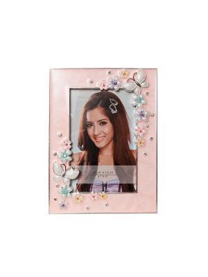 Фоторамка с бабочкой белая, металлическая со стразами 10х15см PLATINUM quality. Цвет: розовый