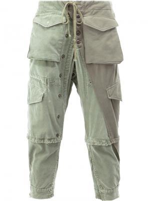 Укороченные брюки-карго Greg Lauren. Цвет: зелёный