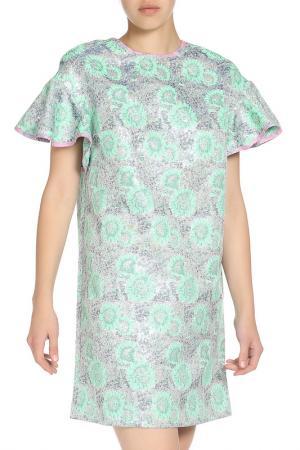 Свободное платье с рукавами бабочка MSGM. Цвет: зеленый, принт
