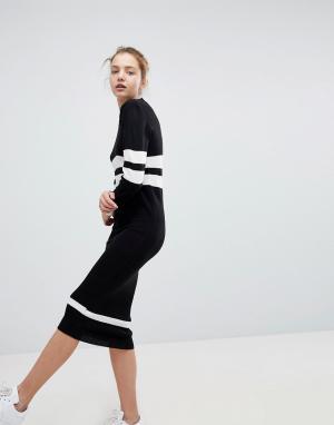 Daisy Street Свободное платье-джемпер с полосками в спортивном стиле. Цвет: черный