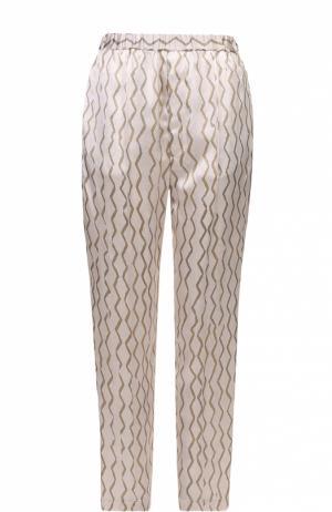 Шелковые брюки прямого кроя с эластичным поясом Isabel Marant. Цвет: бежевый