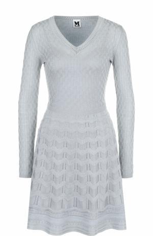 Вязаное мини-платье с длинным рукавом M Missoni. Цвет: серо-голубой