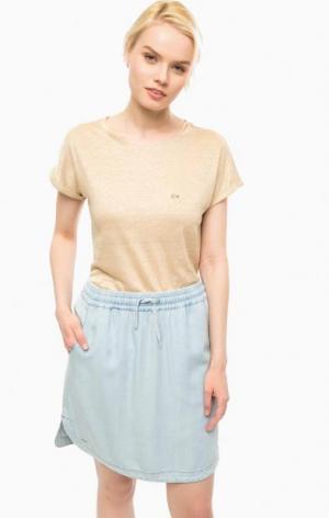 Бежевая футболка из льна Lacoste. Цвет: бежевый