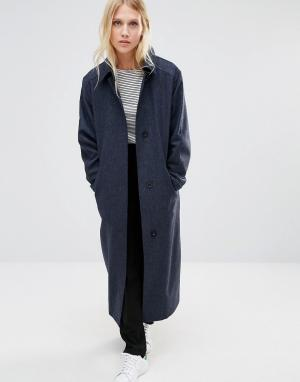 Cooper & Stollbrand Темно-синее легкое шерстяное пальто. Цвет: темно-синий