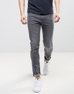 LDN DNM Серые выбеленные зауженные джинсы. Цвет: серый