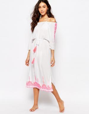 Akasa Пляжное платье макси с вышивкой. Цвет: белый
