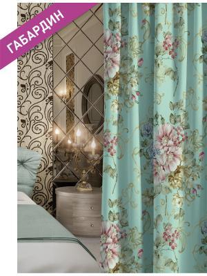 Штора (1шт.) Волшебная ночь 150см*270см, ткань-Габардин,  стиль-ВЕРСАЛЬ, FLOWERLUSH. Цвет: голубой, розовый