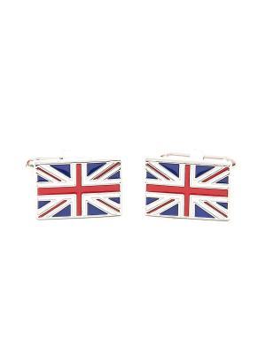 Запонки британский флаг Англия Churchill accessories. Цвет: серебристый