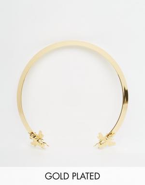 Mordekai Ожерелье-чокер с покрытием из 24-каратного золота и пчелками. Цвет: золотой