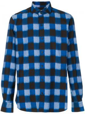 Рубашка в клетку Xacus. Цвет: синий
