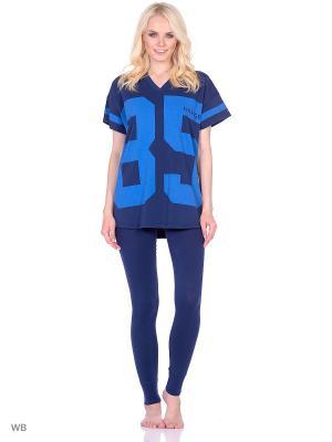 Пижама - Футболка и брюки Tommy Hilfiger. Цвет: синий