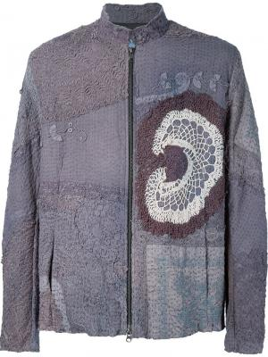 Куртка на молнии с вставкой кроше By Walid. Цвет: серый
