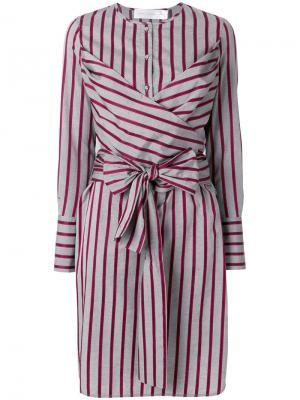 Платье-рубашка в полоску Victoria Beckham. Цвет: многоцветный