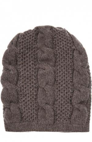 Вязаная шапка из кашемира Kashja` Cashmere. Цвет: светло-коричневый