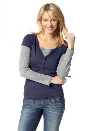 Комплект: футболка + кофточка с длинными рукавами Flashlights. Цвет: серый/экрю, синий/серый, темно-серый+фуксия, черный/белый