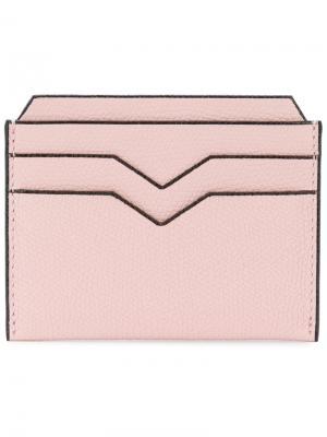 Классическая визитница Valextra. Цвет: розовый и фиолетовый