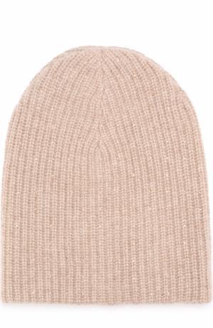 Кашемировая вязаная шапка с отделкой из страз Swarovski William Sharp. Цвет: бежевый