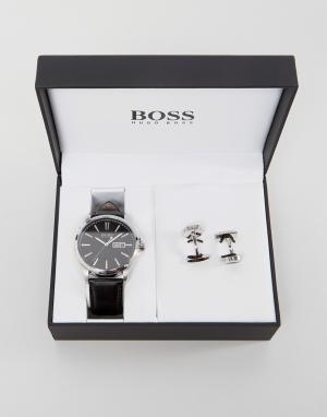 BOSS Часы с кожаным ремешком и запонки в подарочном наборе By Hugo Bos. Цвет: черный