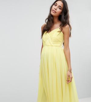ASOS Maternity Платье миди с драпировкой для беременных WEDDING. Цвет: желтый