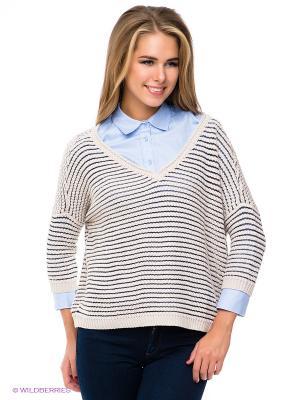 Пуловер TOM TAILOR. Цвет: светло-бежевый, темно-синий
