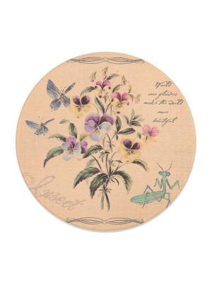 Подставка под горячую чашку ,круглая Анютины Глазки DAVANA. Цвет: бежевый, желтый, голубой